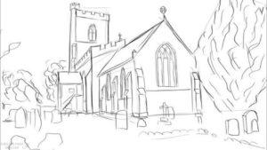 dibujo de iglesia para colorear scaled