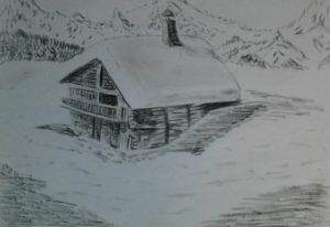 dibujos de montañas con nieve scaled