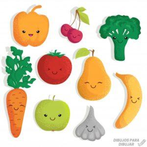 dibujos de frutas y verduras para colorear