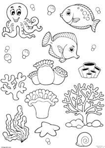 dibujos de mariscos y pescados 1